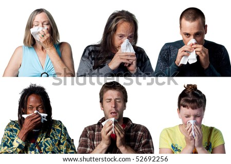 People with allergies or a cold sneezing - stock photo