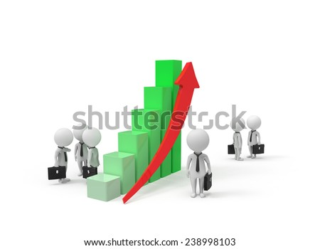People with briefcases stand near red arrow - stock photo