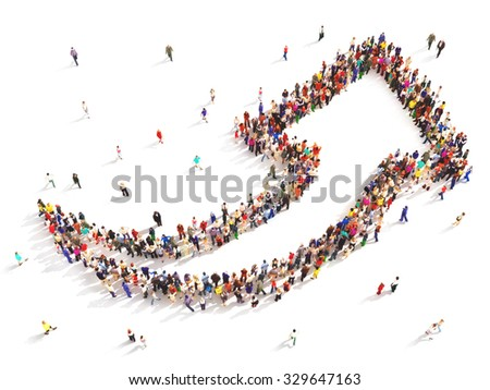 People with direction. Large group of people in the shape of an arrow pointing up symbolizing direction , progress or growth.  - stock photo