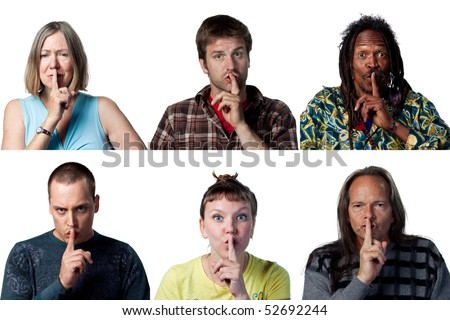 People with fingers on their lips, be quiet - stock photo