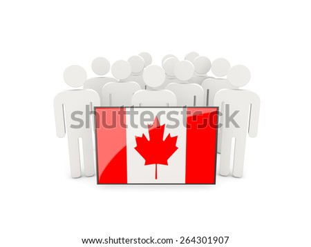 People with flag of canada isolated on white - stock photo