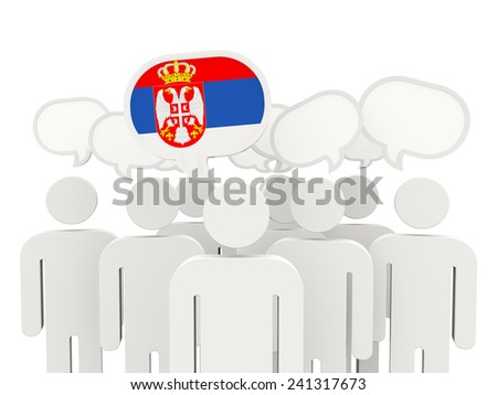 People with flag of serbia isolated on white - stock photo