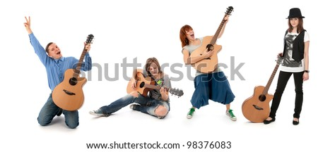 people with guitars isolated on white background - stock photo