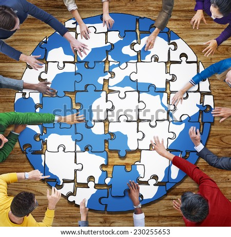 People with Jigsaw Puzzle Forming Globe in Photo and Illustration - stock photo