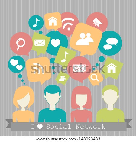 people with network dialog speech bubbles - stock photo
