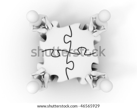 People with puzzle. 3d - stock photo