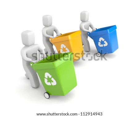 People with recycling bins - stock photo