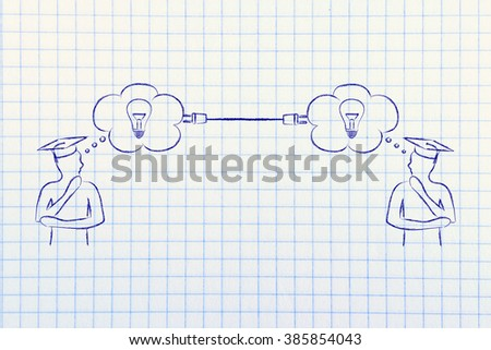 people with thought bubbles connected with a plug, concept of shared knowlegde or skill transfer - stock photo