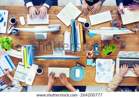 People Working in a Conference and Photo Illustration - stock photo