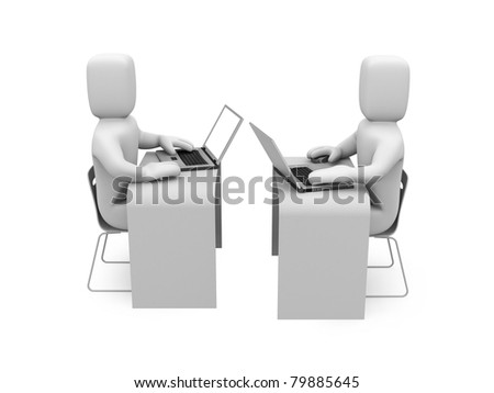 People working on laptops. Image contain clipping path - stock photo