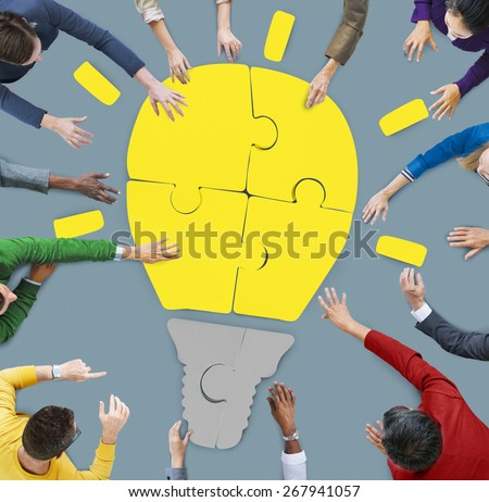 People Working Teamwork Cooperation Support Creativity Concepts - stock photo