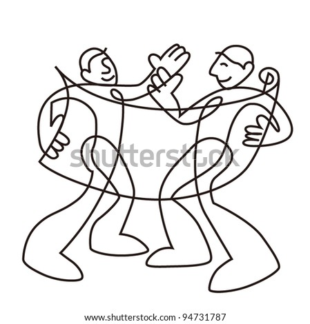 people works make a appointment sketch in black line isolated on white background - stock photo
