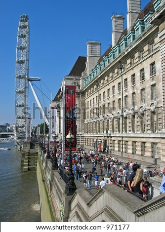 Peoples at London eye, London - stock photo
