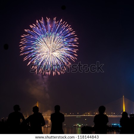 Peoples In Silhouette Watching Firework Show At Night - stock photo