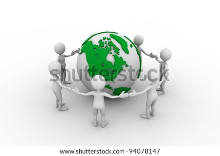 Peoples Joining Hands to PROTECT the EARTH - stock photo