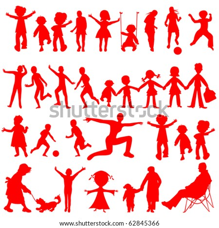peoples red silhouettes isolated on white background, abstract art illustration; for vector format please visit my gallery - stock photo