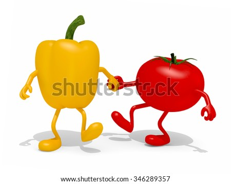pepper and tomato hand in hand, 3d illustration - stock photo