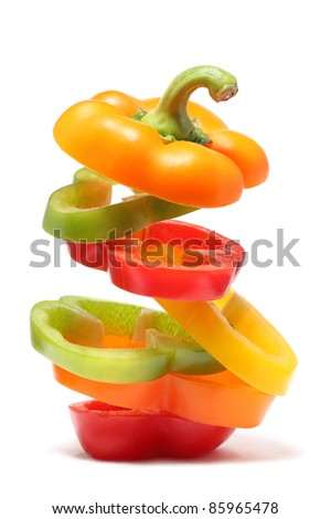 Pepper made from different colors ring (isolated on white background) - stock photo