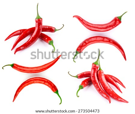 pepper set isolated on a white background - stock photo