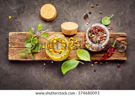 Pepper spice mix. Food and cuisine ingredients, Top view - stock photo