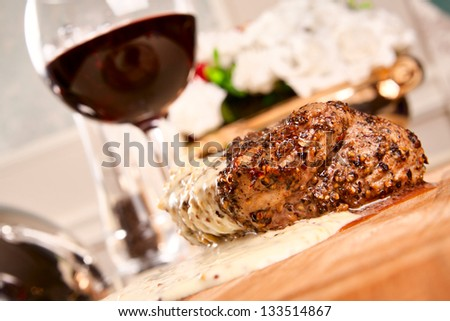 Pepper steak with wine - stock photo