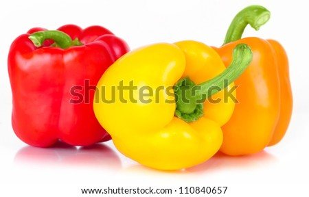 pepper three sweet red, orange, and yellow with bright green �����?��?��²��¾��»��¾��¼ with white light and the water drops diet pepper, isolated on white background - stock photo