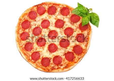 Pepperoni pizza beautiful arrangement - stock photo