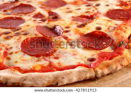 Pepperoni pizza, close-up - stock photo