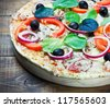 Pepperoni pizza with salami - stock photo