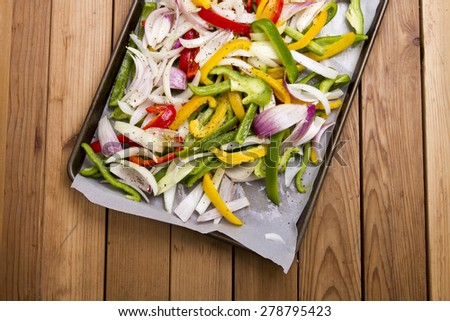 Peppers and onions freshly chopped - stock photo