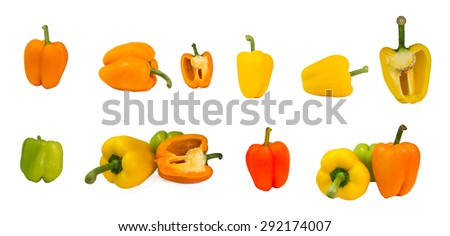 peppers colors many isolated - stock photo