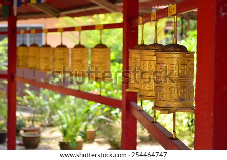 Perak Tambun Tibetian Temple, also known as Jingang Jing She by the locals, is surrounded by magnificent perimeters of luscious valleys, orchards and limestone hills  - stock photo