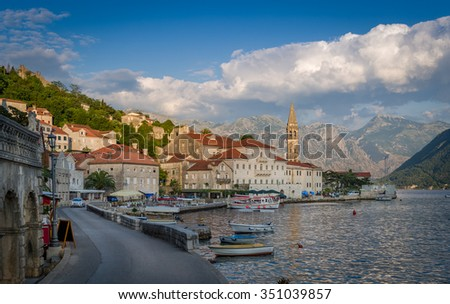 Perast historical seafarer's town in the Bay of Kotor,  Montenegro. Popular touristic attraction. - stock photo