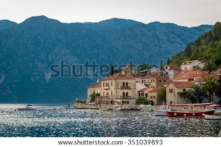 Perast old village in the Bay of Kotor. Old town, Adriatic sea and Montenegrin mountains landscape. Montenegro. - stock photo