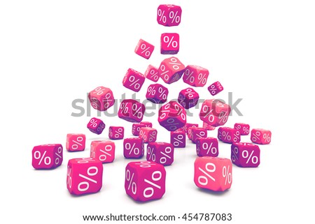 Percent cubes.3d render - stock photo