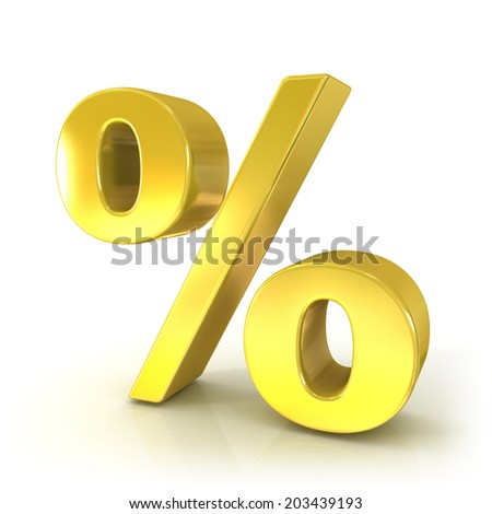 Percent 3d golden sign isolated on white background - stock photo