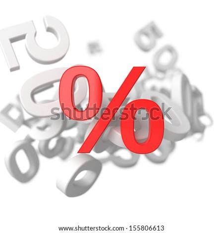 Percent. 3d render illustration on white background - stock photo