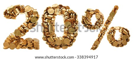 percent discount from the golden coins. isolated on white background. - stock photo