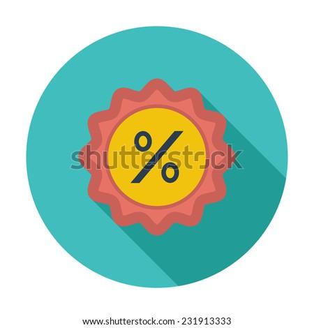 Percent label. Single flat color icon.  - stock photo