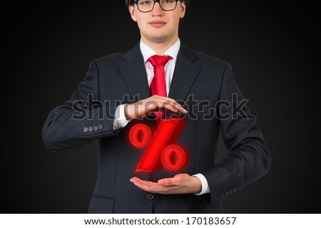 Percent mark between hands - stock photo