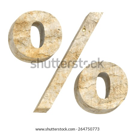 Percent sign from sandstone alphabet set isolated over white. Computer generated 3D photo rendering. - stock photo