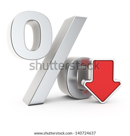 Percent symbol and icon of depreciation - stock photo