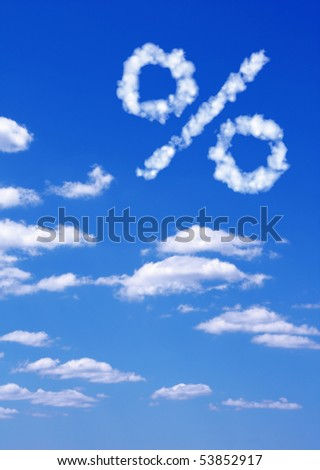 Percent symbol  from white clouds - stock photo