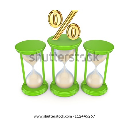 Percent symbol on sand glasses.Isolated on white background.3d rendered. - stock photo