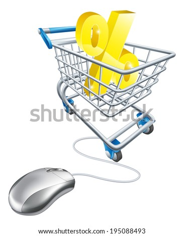 Percentage sign in a shopping trolley with computer mouse connected to it. Concept for shopping for best percent rates on the internet for savings or credit card or just bargains - stock photo