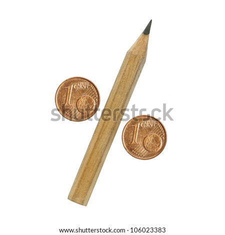 percentage sign, pencil and euro coins - stock photo