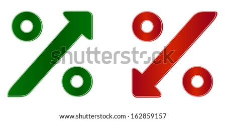 percentage symbol with up and down arrow - stock photo