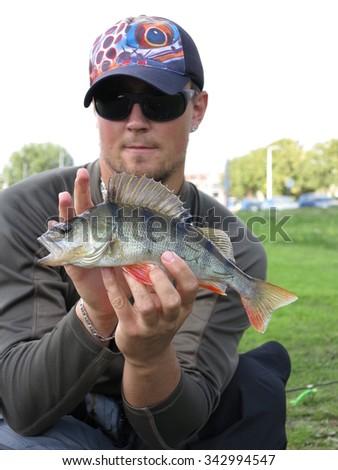 Perch fishing - stock photo