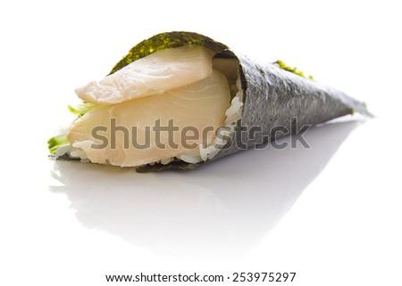 Perch sushi temaki isolated on white background white bakground - stock photo