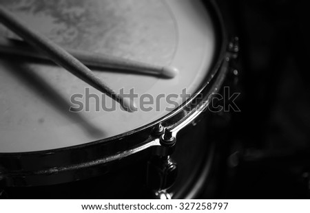 percusions drums with drumsticks on it close-up  - stock photo
